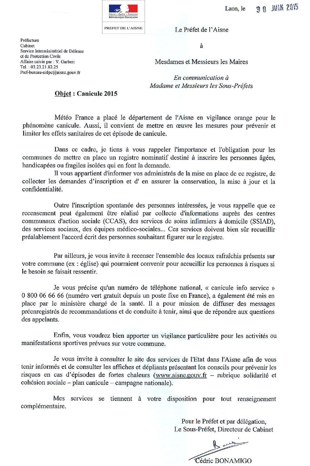 Info Mairie, alerte canicule du 1er Juillet 12h au 4 Juillet minuit.