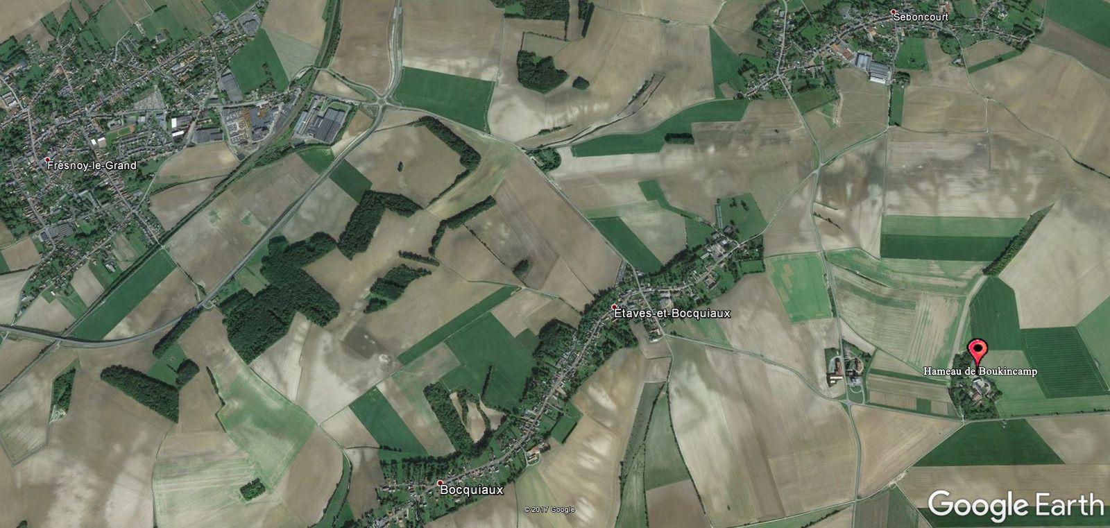 A proximité d'Étaves-et-Bocquiaux en direction d'Aisonville-Bernoville.