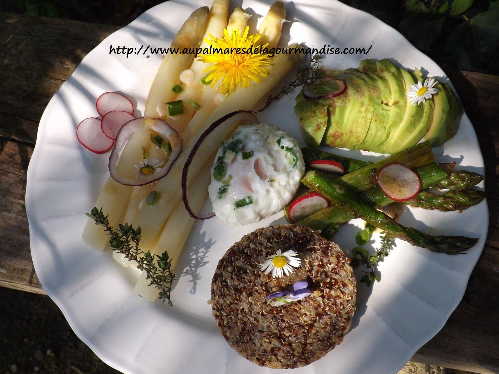 Assiette bucolique de légumes de printemps,quinoa poélé