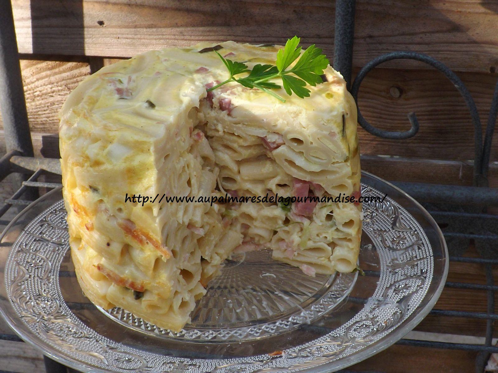 Gateau de pâtes ,poireaux,jambon,fromage IG bas (FiberPasta ou pas !)