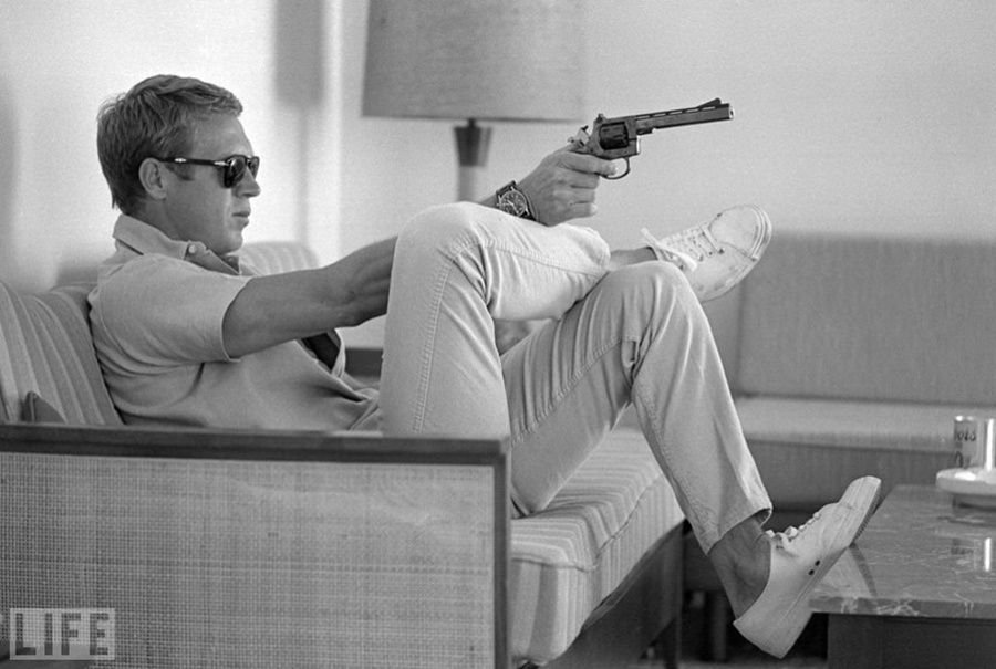 "28. Steve McQueen. Photo by John Dominis, 1963 Actor Steve McQueen (""The Magnificent Seven"")."