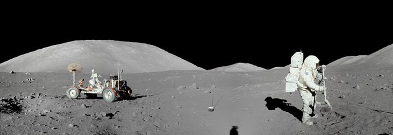 "NASA's ""Panorama of the Moon with the participation of Apollo 17."""