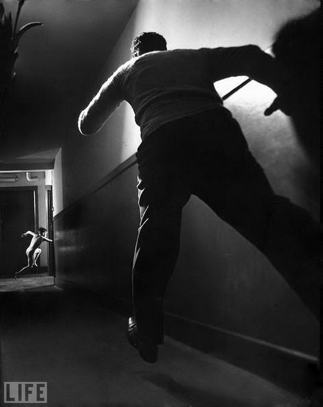 44. Runaway boy (A Boy's Escape). Photo by Ralph Crane, 1947 Staged photo depicting a boy escaped from the orphanage.