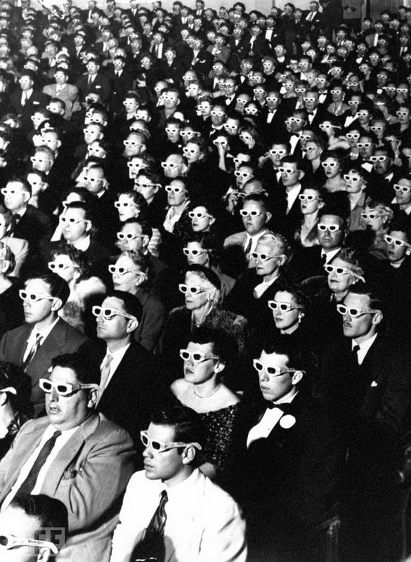 27. 3D Movie Audience. Photo by JR Eyerman, 1952 On viewing the first full stereo movie Bwana Devil.