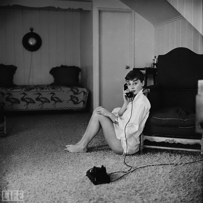 "41. Ingenue Audrey: Photo by Mark Shaw, 1954 25-year-old star of ""Roman Holiday"" Audrey Hepburn"
