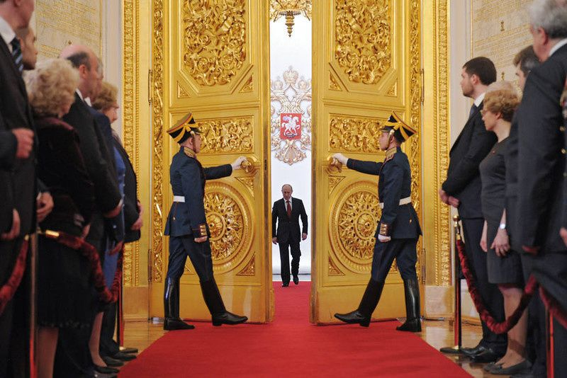 78/ Russia's President Vladimir Putin (C) enters Andreyevsky (St.Andrew's ) Hall at the Great Kremlin Palace in Moscow's Kremlin, on May 7, 2012, during his inauguration ceremony. Putin took his oath of office today to become Russia's president for a historic third mandate at a glittering ceremony inside the Kremlin. AFP PHOTO/ RIA-NOVOSTI/ ALEXEY DRUZHININ/AFP/Getty Images