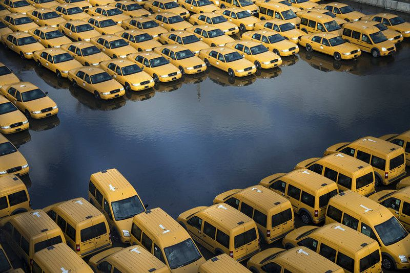 15/ New taxi cabs are seen in a lot as flood waters recede on October 31, 2012 in Hoboken, New Jersey. Hurricane Sandy which made landfall along the New Jersey shore, has left parts of the state and the surrounding area flooded and without power. AFP PHOTO/Brendan SMIALOWSKI/AFP/Getty Images