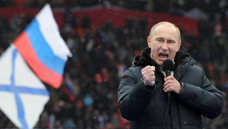 "13/ Russian Presidential candidate, Prime Minister Vladimir Putin delivers a speech during a rally of his supporters at the Luzhniki stadium in Moscow on February 23, 2012. Prime Minister Vladimir Putin on Thursday vowed he would not allow foreign powers to interfere in Russia's internal affairs and predicted victory in an ongoing battle for its future. ""We will not allow anyone interfere in our internal affairs,"" Putin said in a speech to more than 100,000 people packed into the stadium and its grounds at Moscow's Luzhniki stadium ahead of March 4 presidential elections. . AFP PHOTO/AFP PHOTO / YURI KADOBNOV/AFP/Getty Images"