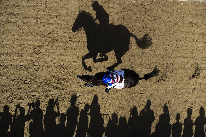43/ Thailand's Nina Lamsan Ligon riding Butts Leon rides past spectators as she competes in the Cross Country phase of the Eventing competition of the 2012 London Olympics at the Equestrian venue in Greenwich Park, London, July 30, 2012. AFP PHOTO / ADRIAN DENNIS/AFP/Getty Images