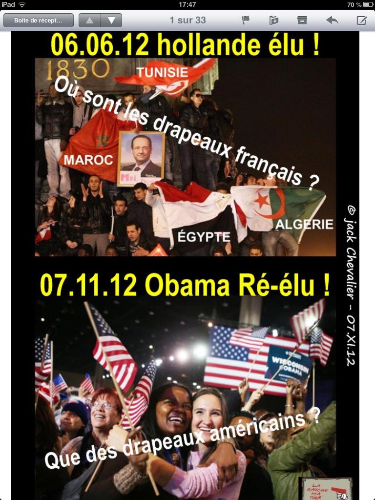 Obama réélu et les drapeaux