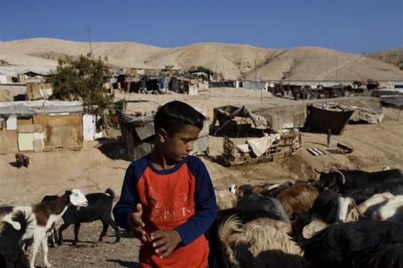 A Palestinian bedouin boy stands near livestock south of the West Bank Jewish yichouv of Mishor Adumim in the Judean Desert August 19, 2009.  REUTERS/Ronen Zvulun