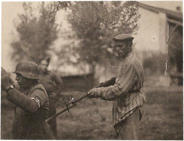 A liberated Jewish Holocaust survivor turning the tables. Date unknown.