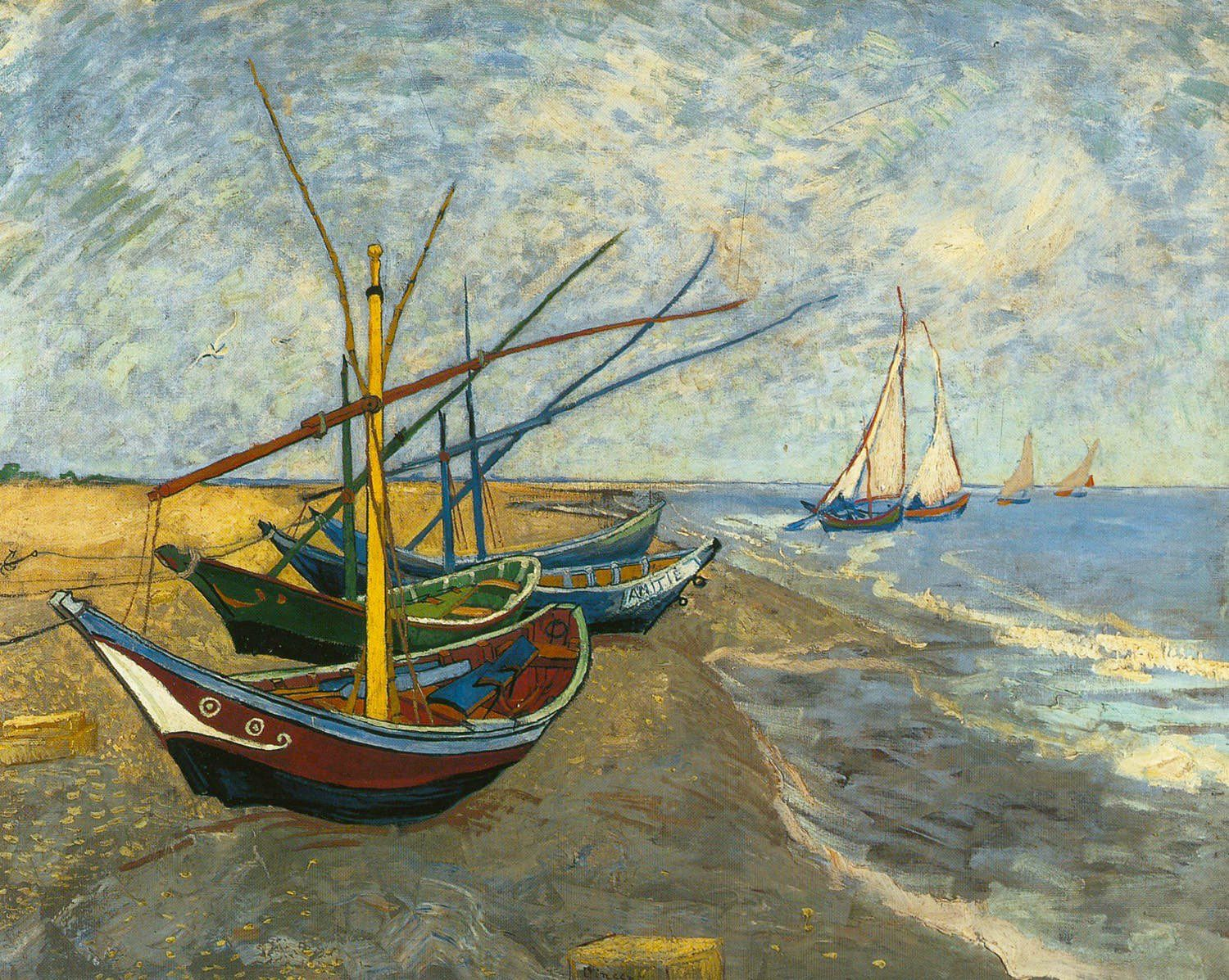 Fishing Boats on the Beach  at Saintes-Maries-de-la-Mer,1888 Vincent van Gogh