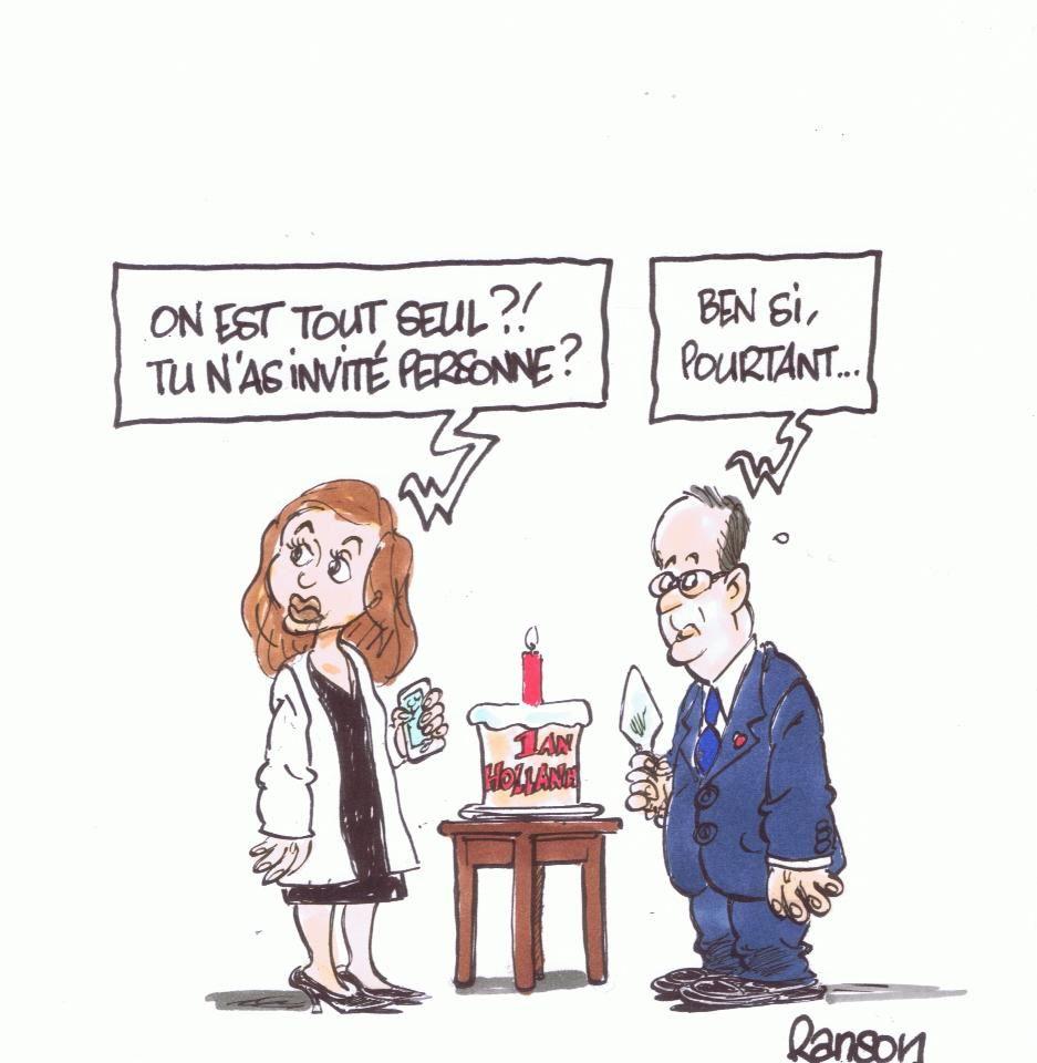 """Mitterrand: """"il faut laisser du tps au tps"""". Hollande: """"il faut laisser du mauvais tps au tps"""". (par Ranson)"""