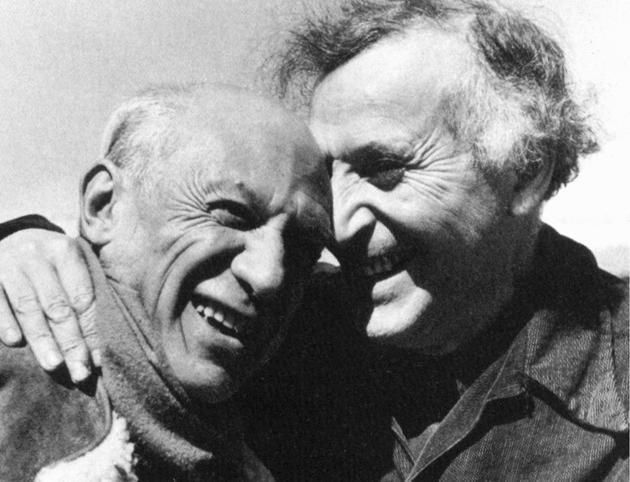 Marc Chagall with Pablo Picasso, 1955