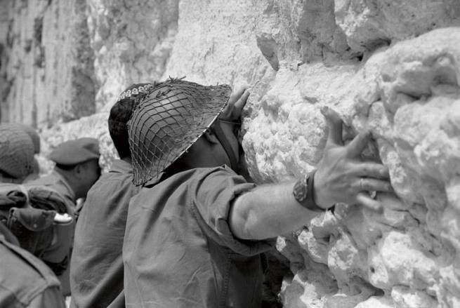 Historical moment: Israeli soldiers at the Wailing Wall at the end of the Six Day War in 1967