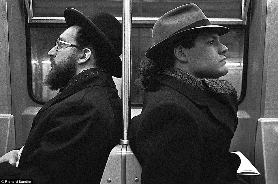 &quot&#x3B;The Hassid and The Hipster&quot&#x3B; New York subway in 1990 (by Sandler)