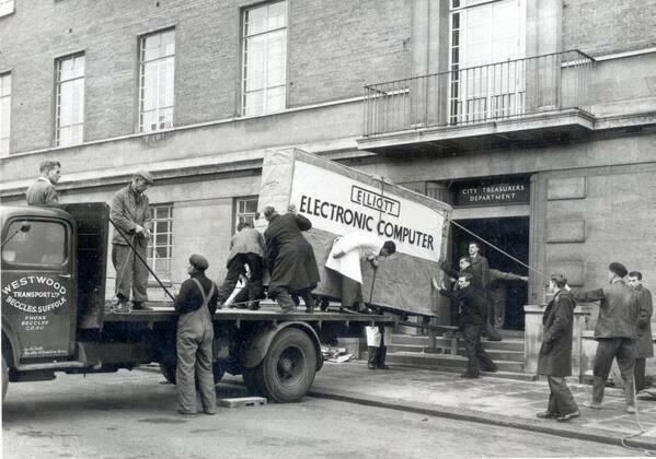 The delivery of Norwich Council's first computer. 1957