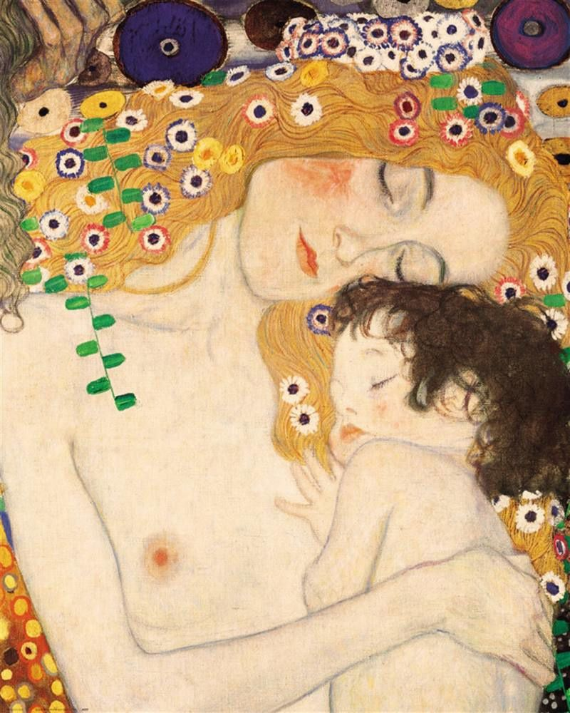 Mother and Child painting oil on canvas by Gustav Klimt