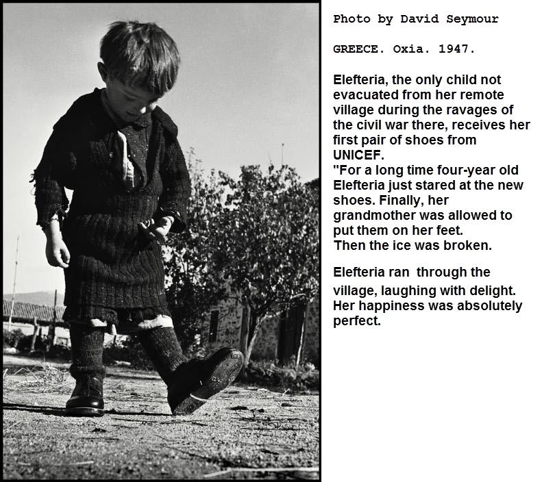 Elefteria and her new shoes, by David Seymour Greece 1947