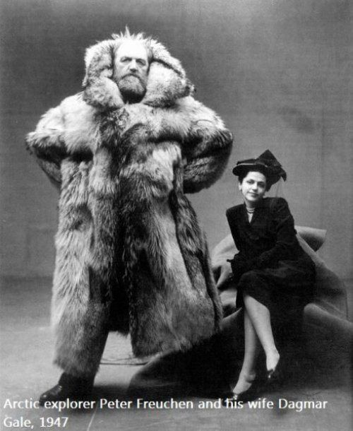 Arctic explorer Peter Freuchen and his wife Dagmar Gale, 1947