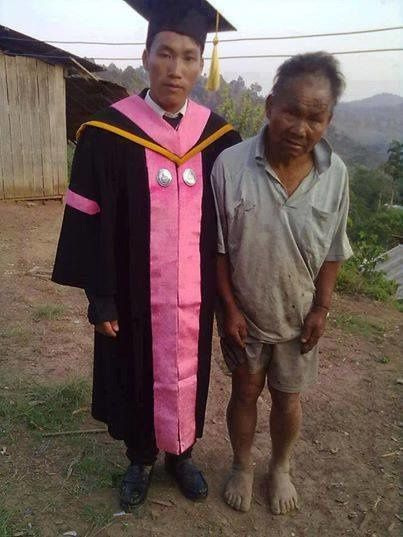 This poor farmer supported his son through college. On graduation day, the son said his father was his biggest pride