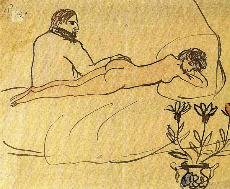Nude with Picasso by her feet, 1903
