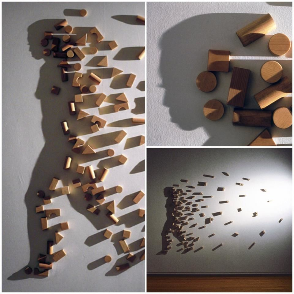 """Building Blocks"" wood, single light source, shadow art by Kumi Yamashita"