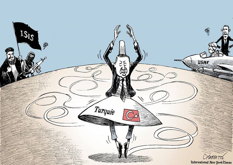Le curieux ballet de la Turquie  (par Chappatte dans The International New York Times)