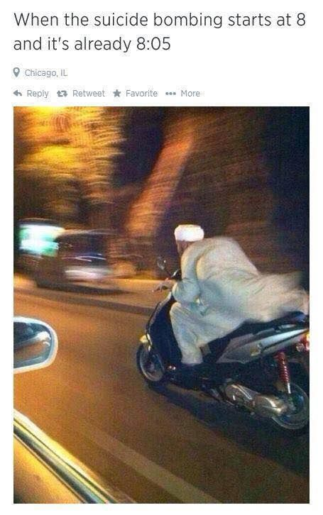 When the suicide bombing starts at 8:00 and it is already 8:05