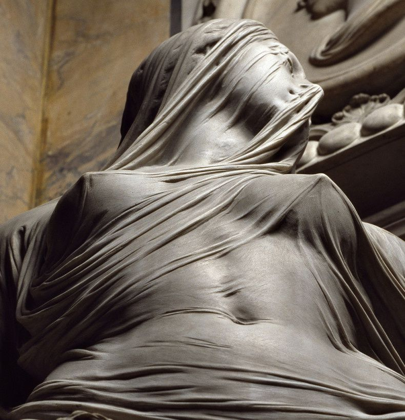 Sculpture en marbre 'Modesty' by Antonio Corradini (1751)