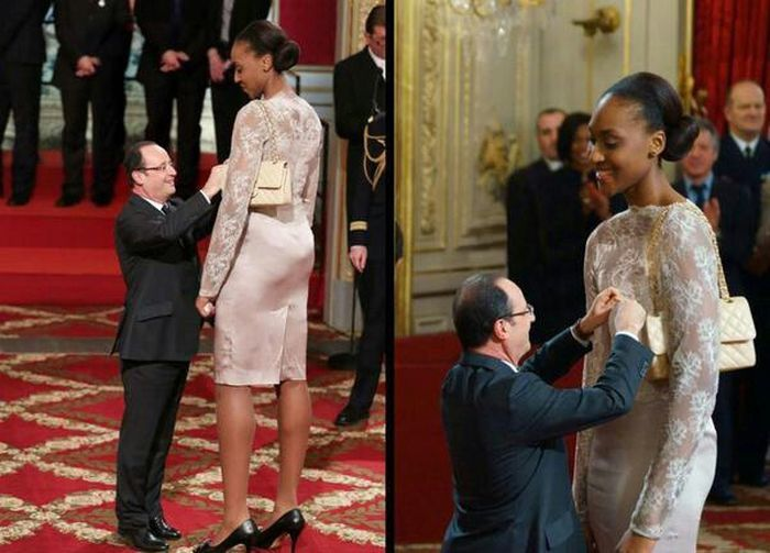 Hollande et la basketteuse Sandrine Gruda