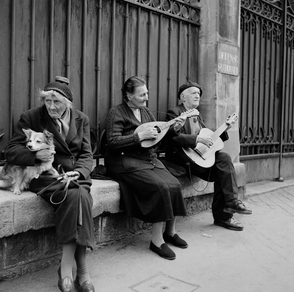 Street Musicians, 1955. by Bill Perlmutter Paris