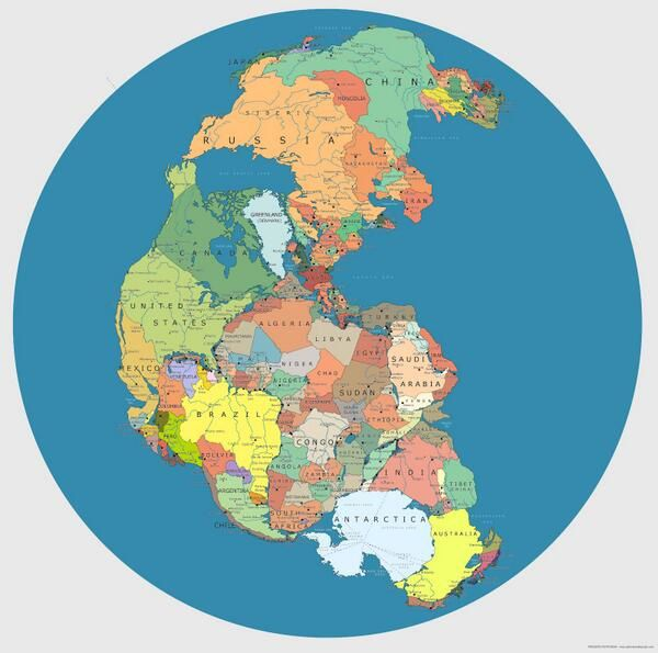Map of Pangaea with current international borders