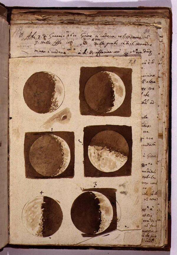 Galileo's drawings of the Moon, 1610.