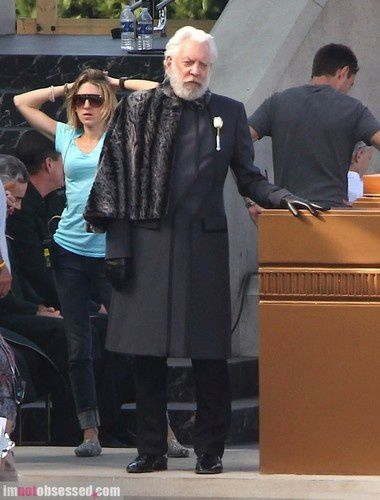 Donald Sutherland (Präsident Coriolanus Snow) am Set