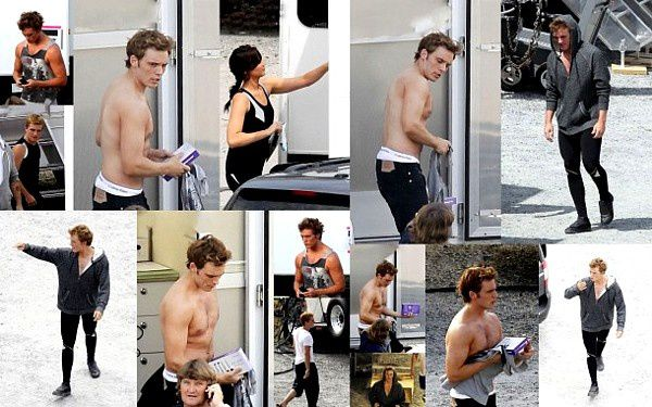 Collage vom Catching Fire Cast am Set