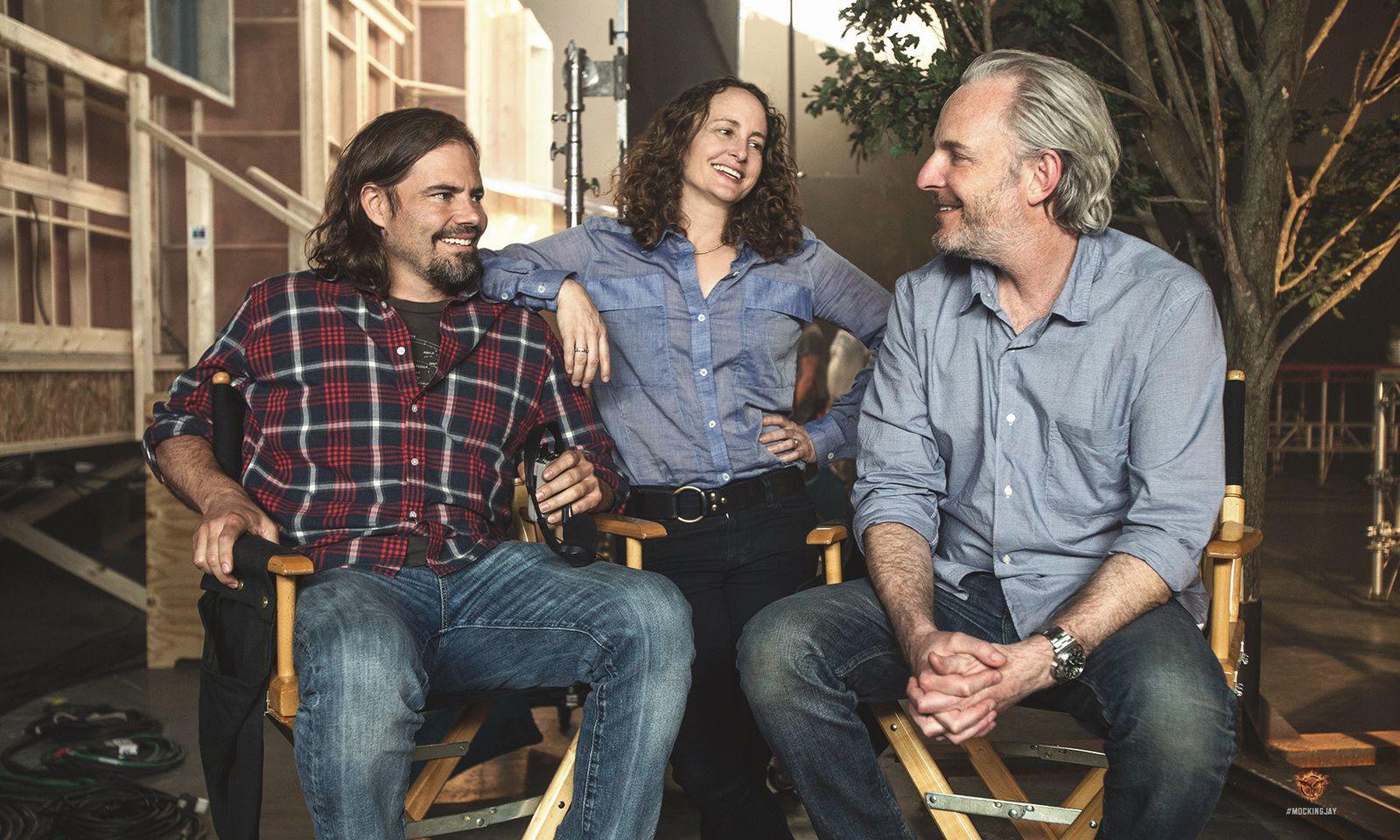 Francis Lawrence (Regisseur), Nina Jacobson (Produzentin) und Drehbuchautor Peter Craig (von rechts nach links!) am Set