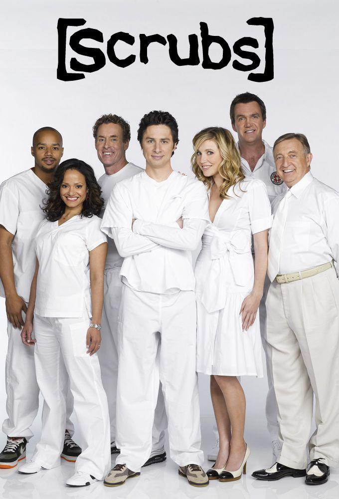 Von links nach rechts: Turk (Donald Faison), Carla (Judy Reyes), Dr. Cox (John C. McGinley), J.D. (Zach Braff), Elliot (Sarah Chalke), Der Hausmeister (Neil Flynn) und Dr. Kelso (Ken Jenkins)
