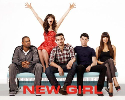 "Der ""New Girl""-Cast von links nach recht: der Coach (Damon Wayans, Jr.), Jess Day (Zooey Deschanel), Nick Miller (Jake Johnson), Schmidt (Max Greenfield) und Cece (Hannah Simone), auf dem Foto fehlt Winston Bishop (Lamorne Morris)"