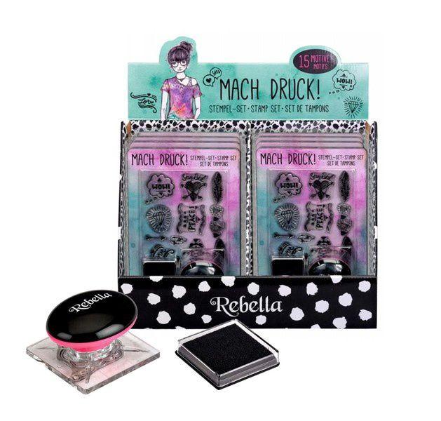 """dazu noch ein Stempel-Set """"Mach Druck!"""" von Rebella welches aus einem Stempelkissen mit schwarzer Tinte und 15 coolen Motiven besteht ..."""