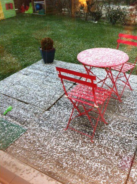Un début de neige dans mon jardin