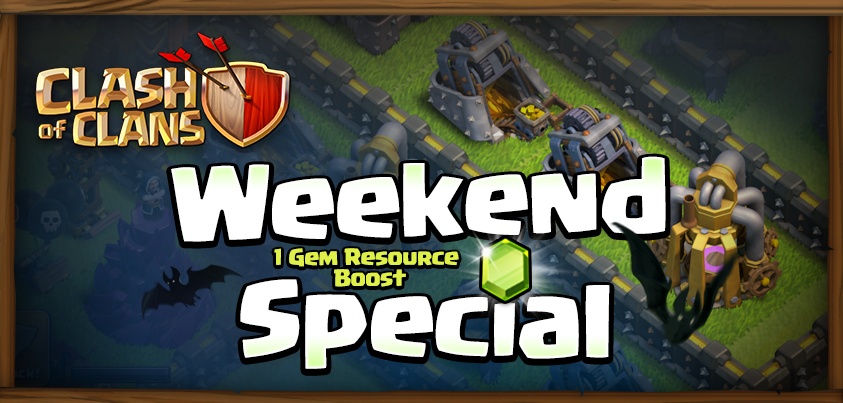 WeekEnd Spécial : le boost ressource coutera 1 gemme