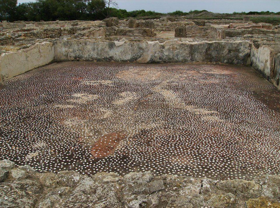 pavimento in cementizio ornato di tessere di marmo bianco
