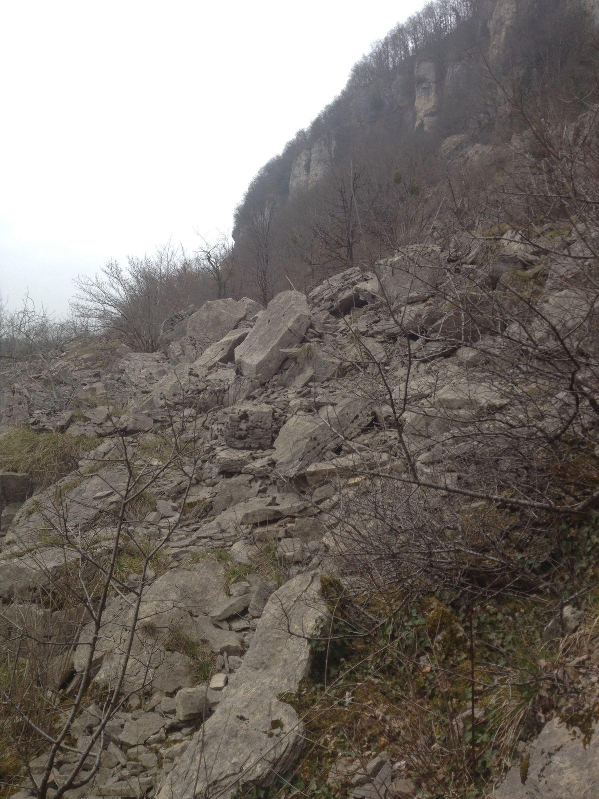 On remarquera de nombreux rochers qui sont venus s'arrêter là (on appelle ce coin les éboulis), des marches taillées et une magnifique vue plongeante sur Baume-les-Messieurs.