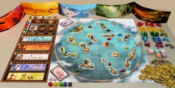 Le magnifique plateau de jeu de Cyclades