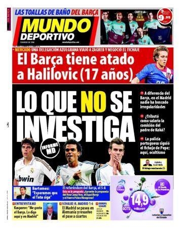 La Une de Mundo Deportivo aujourd'hui (27/02/2014) / La portada de Mundo Deportivo hoy (27/02/2014) / La portada de Mundo Deportivo avui (27/02/2014) / The today's Mundo Deportivo Cover (02/27/2014)