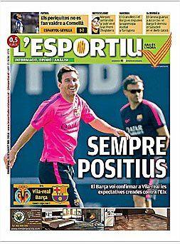 La Une de L'Esportiu aujourd'hui (31/08/2014) / La portada de L'Esportiu hoy (31/08/2014) / La portada de L'Esportiu avui (31/08/2014) / The today's L'Esportiu Cover (08/31/2014)