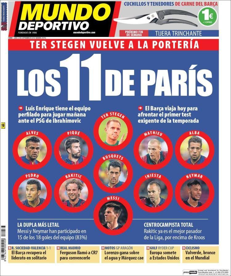 La Une de Mundo Deportivo aujourd'hui (29/09/2014) / La portada de Mundo Deportivo hoy (29/09/2014) / La portada de Mundo Deportivo avui (29/09/2014) / The today's Mundo Deportivo Cover (09/29/2014)