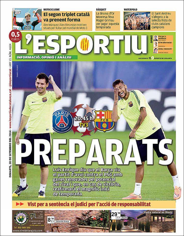 La Une de L'Esportiu aujourd'hui (30/09/2014) / La portada de L'Esportiu hoy (30/09/2014) / La portada de L'Esportiu avui (30/09/2014) / The today's L'Esportiu Cover (09/30/2014)